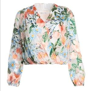 Trisha Cross Front  Floral Top by Alice + Olivia